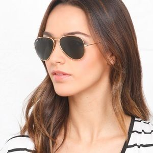 Authentic Ray Ban Aviator Sunglasses Gold